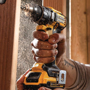 Cordless drill in action while drilling