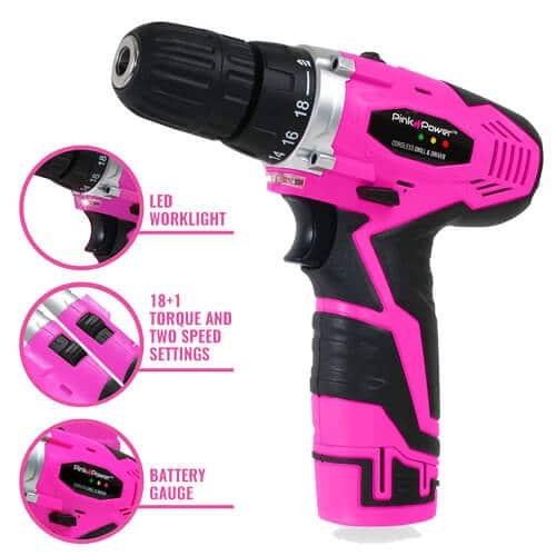 Pink Power 12v Cordless Drill Driver